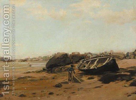 A French coastal scene with fishermen on the beach by Henri Louis Saintin - Reproduction Oil Painting