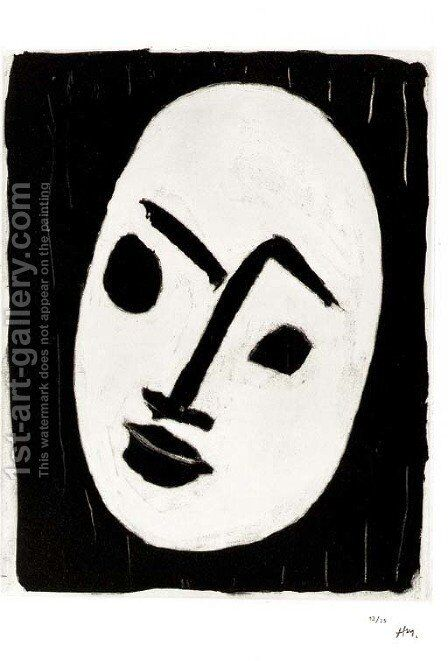Masque blanc sur fond noir by Henri Matisse - Reproduction Oil Painting