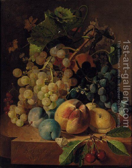 Grapes, peaches, plums and cherries on a marble ledge by Henri Nardeux - Reproduction Oil Painting