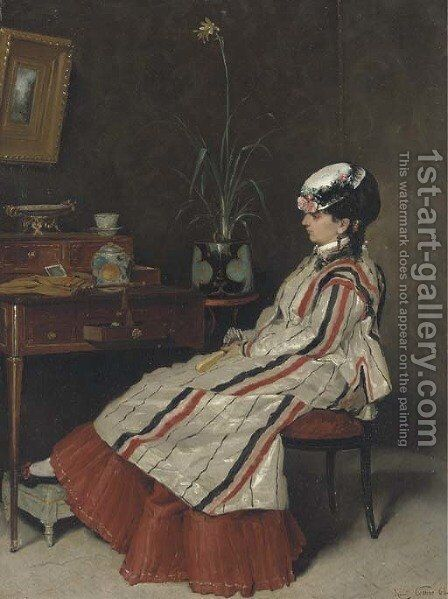 A Woman in a Striped Jacket at a Writing Desk by Henri Rene Gaume - Reproduction Oil Painting