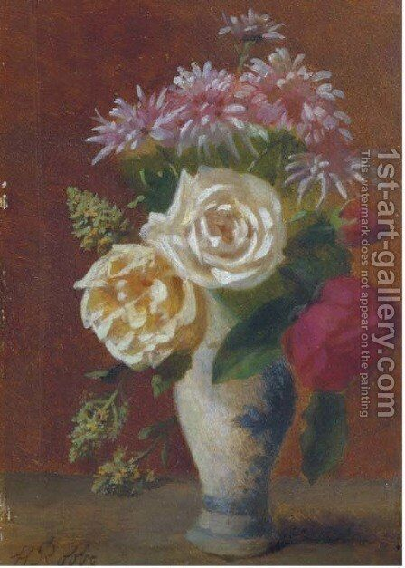 A mixed bouquet by Henri Robbe - Reproduction Oil Painting