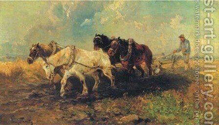 Ploughing the land by Henri Schouten - Reproduction Oil Painting