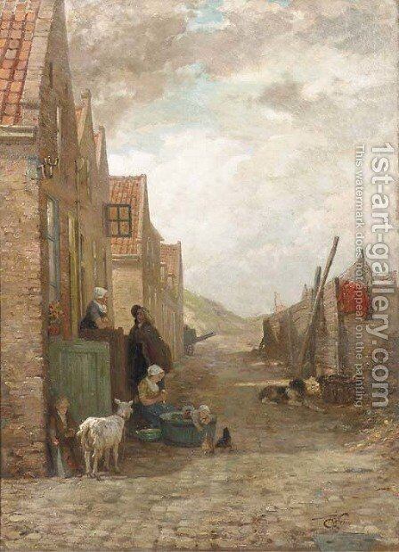 Figures and animals in a small street, Arnemuiden by Henri van Seben - Reproduction Oil Painting