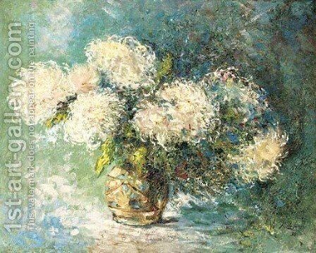 Chrysanthemums in a vase by Henri Victor Stillemans - Reproduction Oil Painting