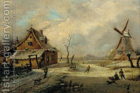 Figures in a frozen winter landscape with a windmill beyond by Henri Voordecker - Reproduction Oil Painting