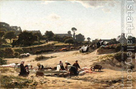 Women washing the clothes in a stream by Jean Henri Zuber - Reproduction Oil Painting
