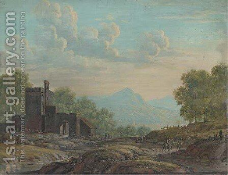 Travellers in an open landscape before sun-drenched hills by Henri-Desire Van Blarenberghe - Reproduction Oil Painting