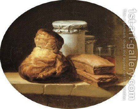 A brioche, two pastries, two covered jars and a glass of red wine on a stone ledge by Henri-Horace Roland de la Porte - Reproduction Oil Painting