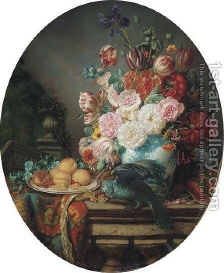 Still Life with a Parrot, Fruits, Flowers by Henri-Jean-Saint-Ange Chasselat - Reproduction Oil Painting