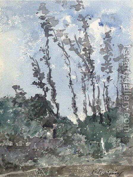 A study of trees by Henri-Joseph Harpignies - Reproduction Oil Painting