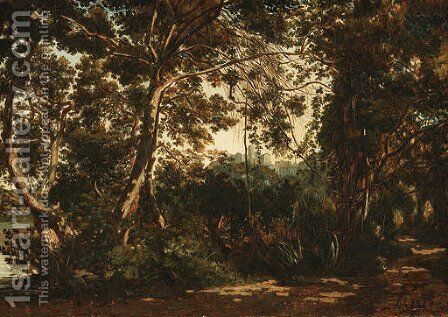 A wooded forest with a town beyond by Henri-Joseph Harpignies - Reproduction Oil Painting