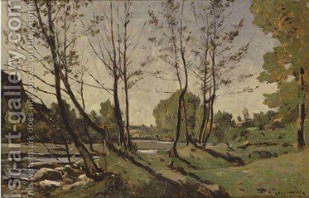 Bord de riviere by Henri-Joseph Harpignies - Reproduction Oil Painting