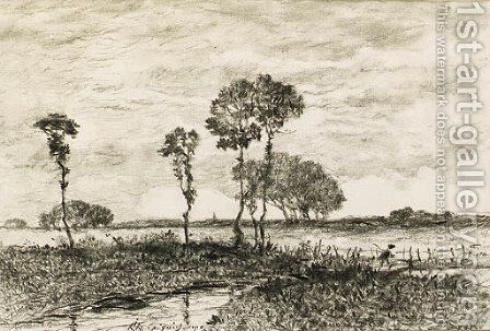 Landscape with a stream and trees by Henri-Joseph Harpignies - Reproduction Oil Painting