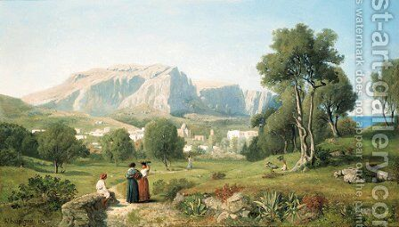 Vue prise dans l'ile de Capri, Golfe de Naples by Henri-Joseph Harpignies - Reproduction Oil Painting