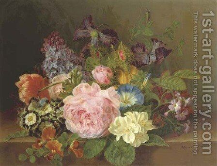 Mixed flowers on a ledge by Henriette Gertruide Knip - Reproduction Oil Painting