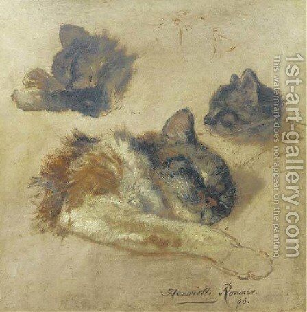 Sleeping kittens by Henriette Ronner-Knip - Reproduction Oil Painting