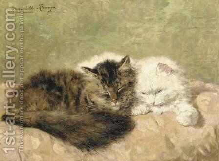 Two cats on a pink pillow by Henriette Ronner-Knip - Reproduction Oil Painting