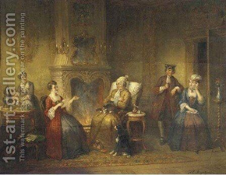 Reading the letter by Hendricus Engelbertus Reijntjens - Reproduction Oil Painting