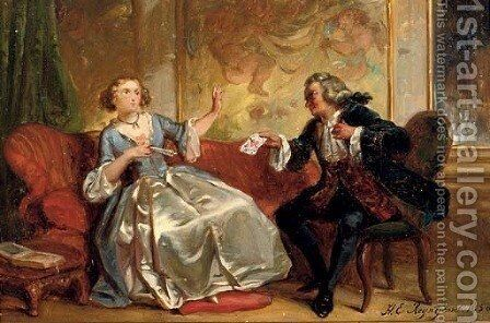 The love letter by Hendricus Engelbertus Reijntjens - Reproduction Oil Painting