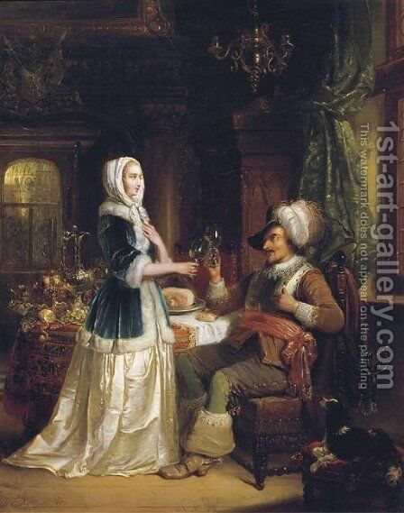The toast by Hendricus Engelbertus Reijntjens - Reproduction Oil Painting
