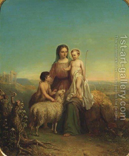 The Virgin Mary with Christ and John the Baptist by Hendricus Engelbertus Reijntjens - Reproduction Oil Painting