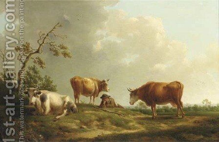 A pastoral landscape with cattle and a herdsman by Hendrik van Anthonissen - Reproduction Oil Painting