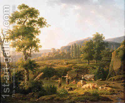 A shepherdess conversing with an angler on a river bank by Hendrik van Anthonissen - Reproduction Oil Painting