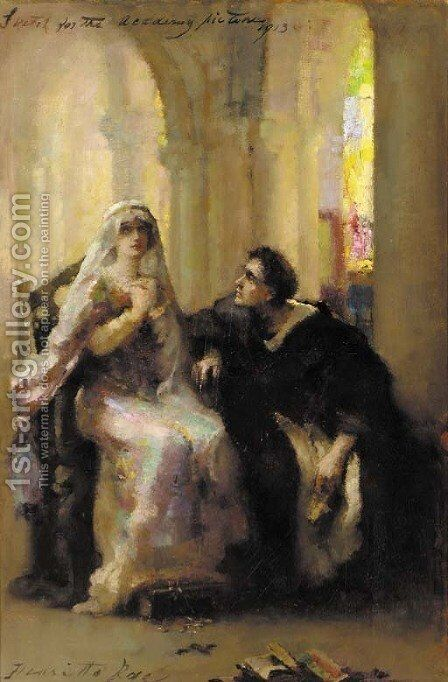 Ellen Terry and Henry Irving in Abelard and Heloise by Henrietta Rae (Mrs. Ernest Normand) - Reproduction Oil Painting