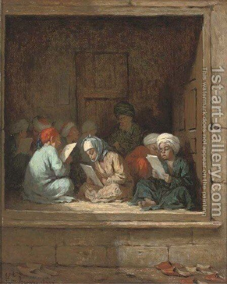 A Turkish schoolroom by Henriette, Hon. R.I. Browne - Reproduction Oil Painting