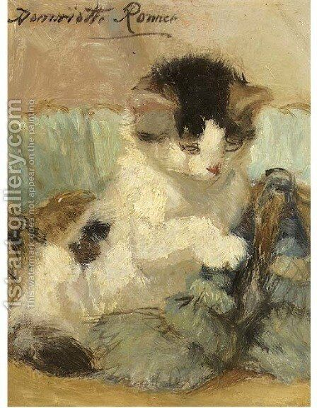 A kitten playing with a tassle by Henriette Ronner-Knip - Reproduction Oil Painting