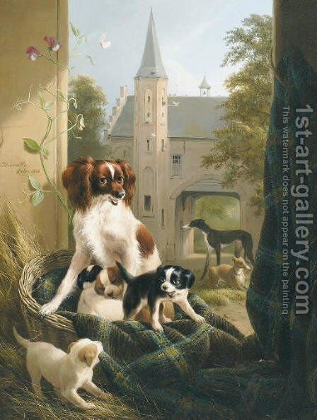 A mother and her litter in a castle court yard by Henriette Ronner-Knip - Reproduction Oil Painting