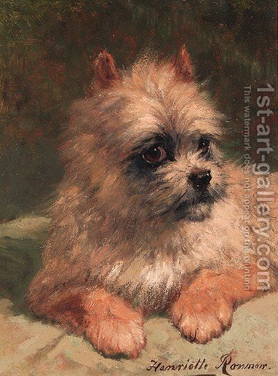 A terrier by Henriette Ronner-Knip - Reproduction Oil Painting