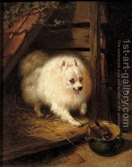 An unwelcome intruder by Henriette Ronner-Knip - Reproduction Oil Painting