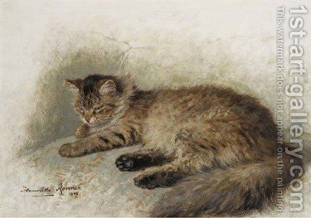Angora brun by Henriette Ronner-Knip - Reproduction Oil Painting