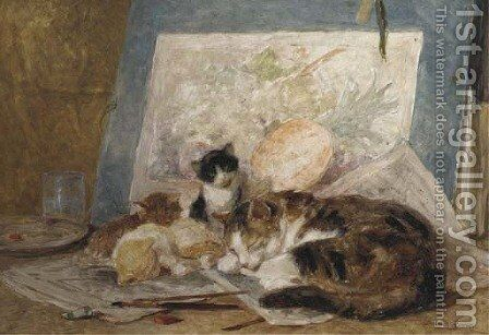 Asleep in the artist's studio by Henriette Ronner-Knip - Reproduction Oil Painting