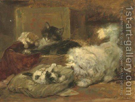 Carefree friends by Henriette Ronner-Knip - Reproduction Oil Painting