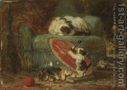 De Japansche parasol by Henriette Ronner-Knip - Reproduction Oil Painting