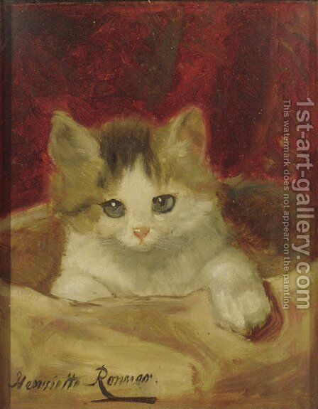 Kitten on a pink cushion by Henriette Ronner-Knip - Reproduction Oil Painting