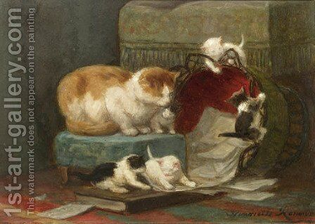 Playful kittens by Henriette Ronner-Knip - Reproduction Oil Painting