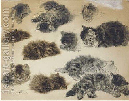 Playful poses Studies of kittens by Henriette Ronner-Knip - Reproduction Oil Painting
