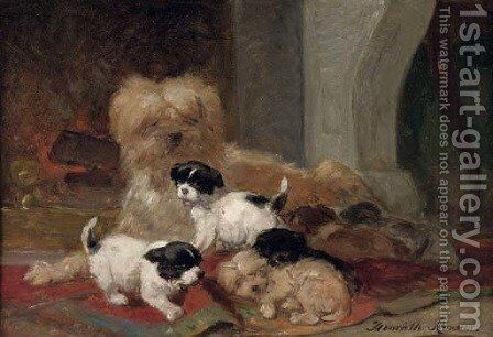 Playing in front of the fire by Henriette Ronner-Knip - Reproduction Oil Painting