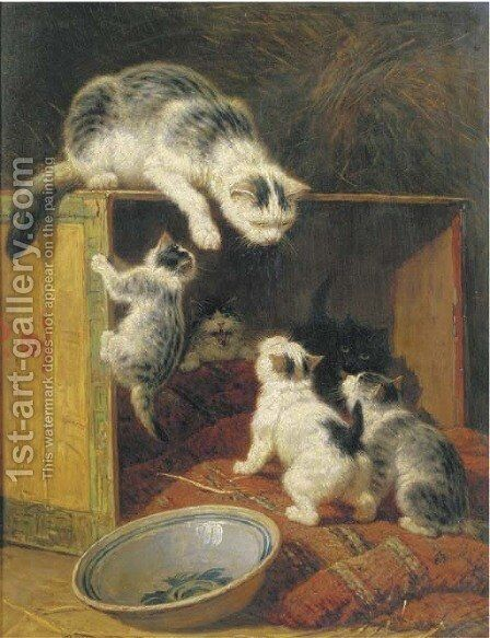 Rebellious kittens by Henriette Ronner-Knip - Reproduction Oil Painting