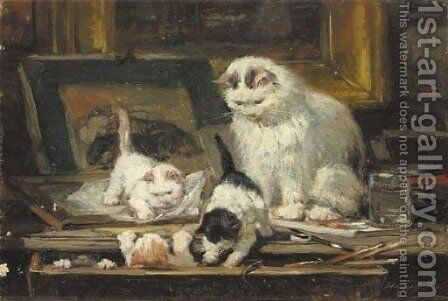 The first drawing lesson by Henriette Ronner-Knip - Reproduction Oil Painting