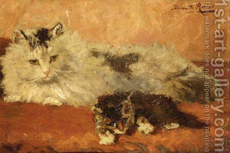 The watchful mother by Henriette Ronner-Knip - Reproduction Oil Painting