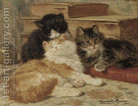 Three of a kind by Henriette Ronner-Knip - Reproduction Oil Painting