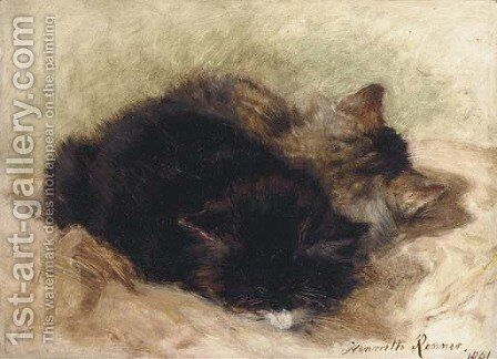 Utter contentment by Henriette Ronner-Knip - Reproduction Oil Painting
