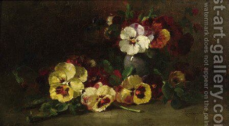 Violets by Henriette Ronner-Knip - Reproduction Oil Painting