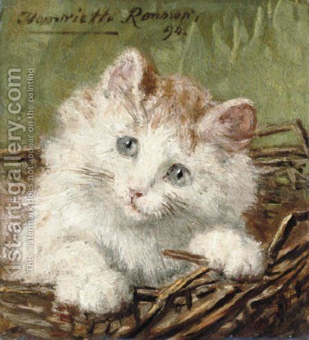 White kitten in a basket by Henriette Ronner-Knip - Reproduction Oil Painting