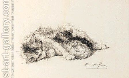 A study of a cat and kitten by Henriette Ronner-Knip - Reproduction Oil Painting