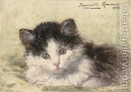 An inquisitive look by Henriette Ronner-Knip - Reproduction Oil Painting